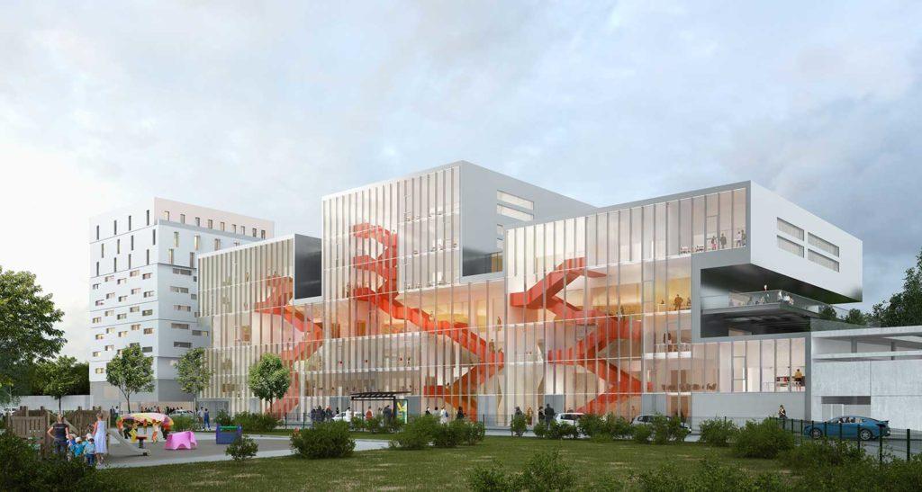 Construction du Campus et résidence étudiante Ynov à Nanterre 1